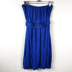 Bershka | Cobalt Blue Strapless Bubble Mini Dress
